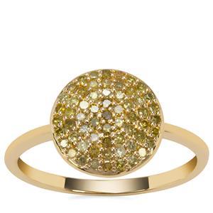 Yellow Diamond Ring in 9K Gold 0.37ct