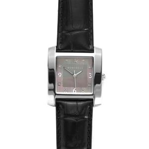 Montreux Diamond and Mother of Pearl Stainless Steel Watch with Black Leather Strap