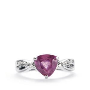 Ilakaka Hot Pink Sapphire & White Topaz Sterling Silver Ring ATGW 2.62cts (F)