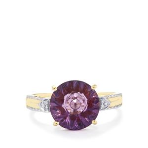 Lehrer KaleidosCut Ametista Amethyst, Malagasy Ruby Ring with Diamond in 10K Gold 2.84cts (F)