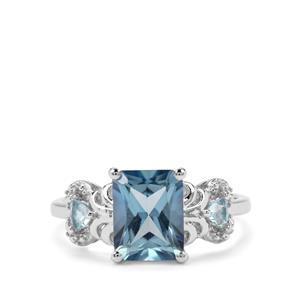 Santa Maria & Swiss Blue Topaz Sterling Silver Ring ATGW 3.03cts