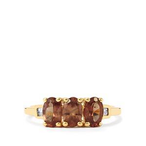 Bekily Colour Change Garnet & Diamond 9K Gold Ring ATGW 1.62cts