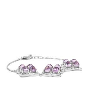 Rose De France Amethyst & White Zircon Sterling Silver Bracelet ATGW 13.96cts