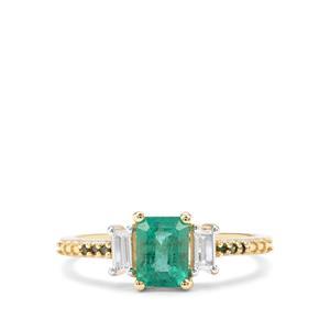 Zambian Emerald, White Zircon & Green Diamond 9K Gold Ring ATGW 1.27cts