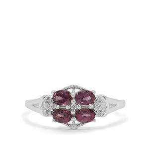 Burmese Spinel Ring with White Zircon in Sterling Silver 1cts