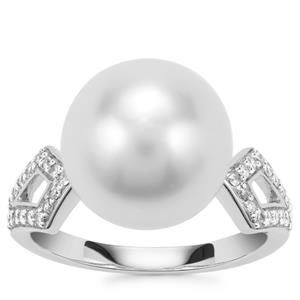 South Sea Cultured Pearl Ring with Diamond in 18K White Gold (12mm)