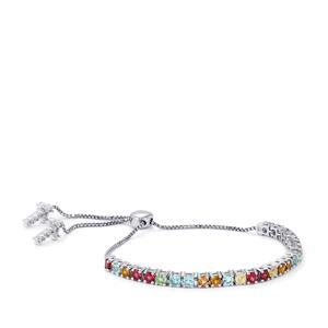 Kaleidoscope Gemstones Slider Bracelet in Sterling Silver 5.91cts
