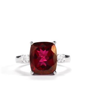6.92ct Mystic Crimson Red & White Topaz Sterling Silver Ring