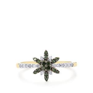 1/4ct Green & White Diamond 10K Gold Ring
