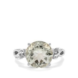 Prasiolite & White Topaz Sterling Silver Ring ATGW 4.46cts