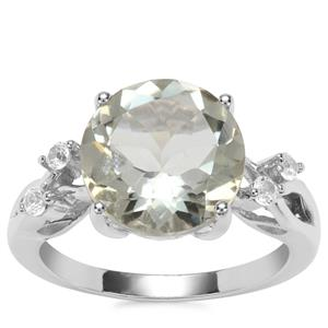 Prasiolite Ring with White Topaz in Sterling Silver 4.46cts