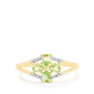 Merelani Mint Garnet & Diamond 9K Gold Ring ATGW 0.54cts