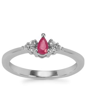Burmese Ruby Ring with White Topaz in Sterling Silver 0.29ct