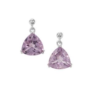7.40ct Rose De France Amethyst Sterling Silver Earrings