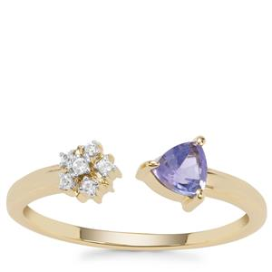 AA Tanzanite Ring with White Zircon in 9K Gold 0.34ct