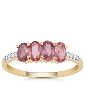 Padparadscha Sapphire Ring with Diamond in 9K Gold 1.39cts