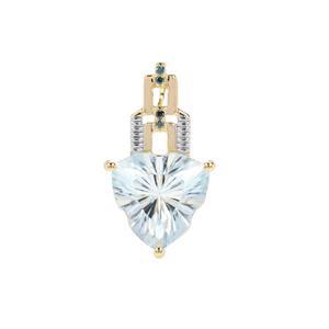 Lehrer Infinity Cut Sky Blue Topaz Pendant with Blue Diamond in 9K Gold 7.36cts
