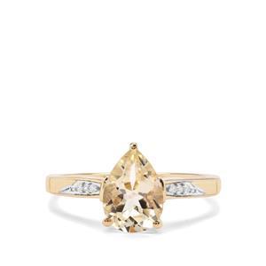 Serenite & White Diamond 9K Gold Ring ATGW 1.78cts