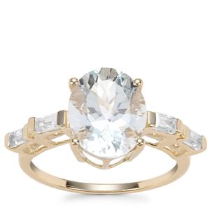 Madagascan Aquamarine Ring with White Zircon in 9K Gold 3.65cts