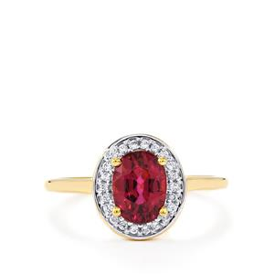 Comeria Garnet Ring with White Zircon in 9K Gold 1.44cts