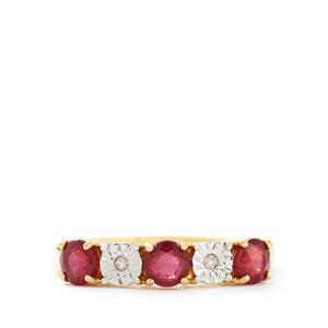 Thai Ruby & Diamond Gold Vermeil Ring ATGW 1.12cts (F)