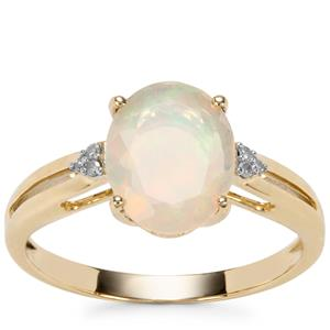 Ethiopian Opal Ring with Diamond in 9K Gold 1.46cts