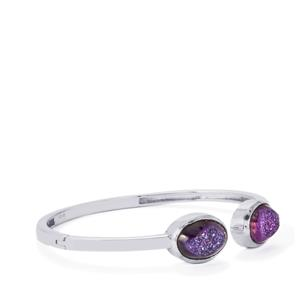 Violet Drusy Oval Bangle  in Sterling Silver 11.30cts