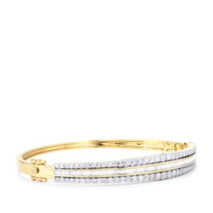 Diamond Oval Bangle in 10K Gold 3cts