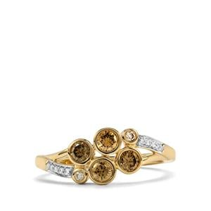 Natural Coloured Diamond Ring with White Diamond in 18K Gold 0.50ct