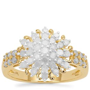 Diamond Ring in Gold Plated Sterling Silver 1cts
