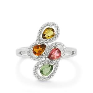 Rainbow Tourmaline & Diamond Sterling Silver Ring ATGW 1cts