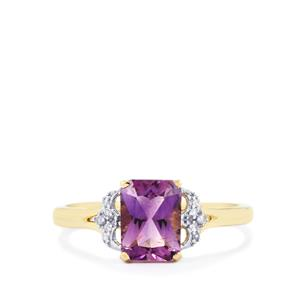 Moroccan Amethyst & Diamond 10K Gold Ring ATGW 1.46cts