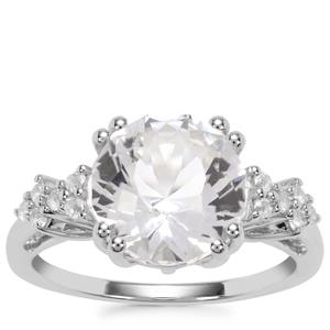 Optic Quartz Ring with White Topaz in Sterling Silver 3.91cts