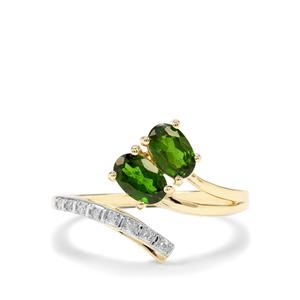 Chrome Diopside & Diamond 9K Gold Ring ATGW 1cts