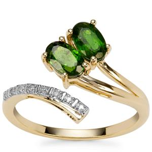 Chrome Diopside Ring with Diamond in 9k Gold 1cts