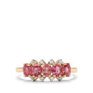Padparadscha Sapphire & Diamond 9K Gold Ring ATGW 1.24cts