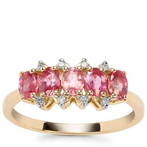 Padparadscha Sapphire Ring with Diamond in 9K Gold 1.24cts