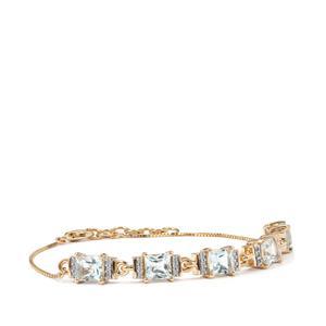 Pedra Azul Aquamarine & White Zircon 10K Gold Tomas Rae Bracelet ATGW 3.15cts