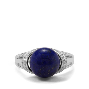 Sar-i-Sang Lapis Lazuli & White Zircon Sterling Silver Ring ATGW 7.93cts