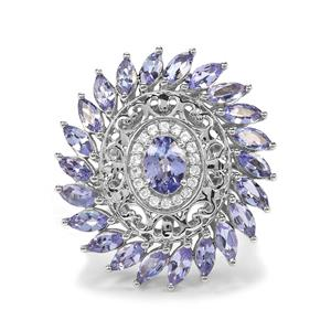 AA Tanzanite Ring with White Zircon in Platinum Plated Sterling Silver 3.96cts