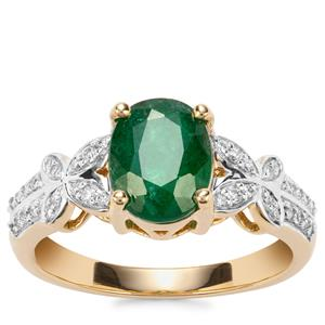 Minas Gerais Emerald Ring with Diamond in 18K Gold 1.82cts