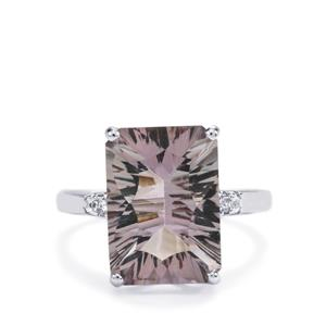Blueberry Quartz Ring with White Topaz in Sterling Silver 5.98cts