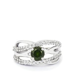 Chrome Diopside Ring with White Topaz in Sterling Silver 1.62cts