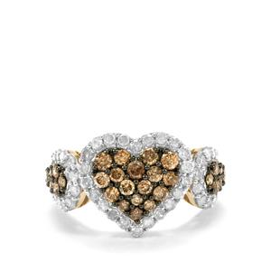 1.45ct Champagne & White Diamond 9K Gold Tomas Rae Ring