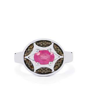 Ilakaka Hot Pink Sapphire Ring with Champagne Diamond in Sterling Silver 1.30cts (F)