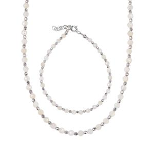 White Moonstone Set of Bead Bracelet & Necklace with Silver Haematite in Sterling Silver 39.74cts