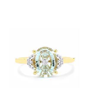 Lehrer TorusRing Sky Blue Topaz Ring with Diamond in 10K Gold 2.66cts