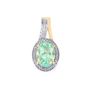 Colombian Emerald Pendant with Diamond in 18k Gold 1.78cts
