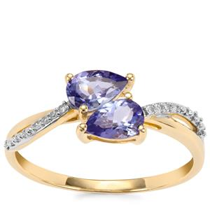 AA Tanzanite Ring with Diamond in 9K Gold 0.83cts