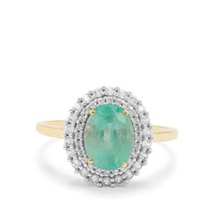 Malysheva Emerald & White Zircon 9K Gold Tomas Rae Ring ATGW 2.45cts